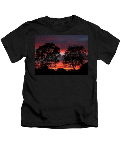 Sunset Behind Two Trees Kids T-Shirt