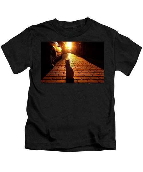 Sunset Cat Kids T-Shirt