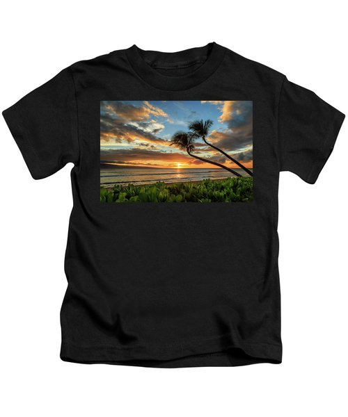 Sunset In Kaanapali Kids T-Shirt