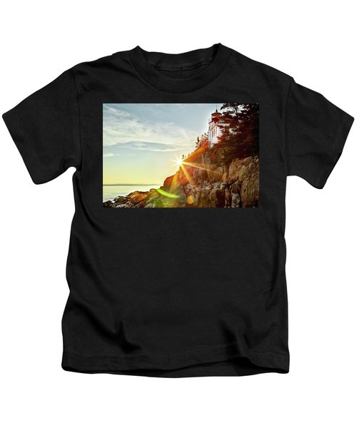 Ocean Sunset On Maine's Bass Harbor Lighthouse Kids T-Shirt