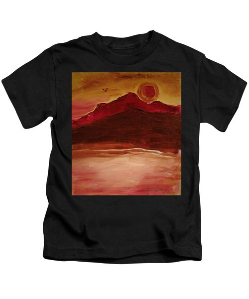 Sunset On Red Mountain Kids T-Shirt