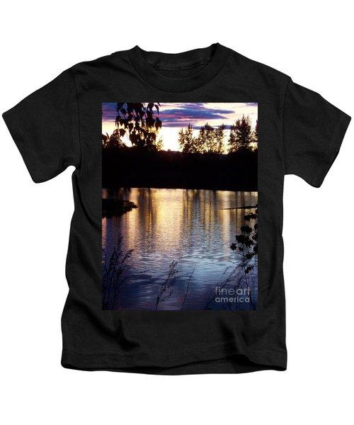 Sunset On River Kids T-Shirt