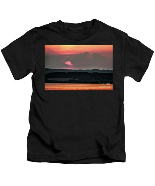 Sunset On The Lake Velence Paint Kids T-Shirt