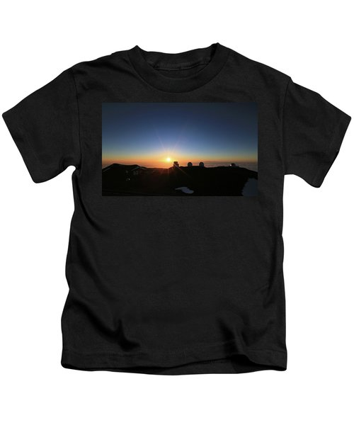 Sunset On The Mauna Kea Observatories Kids T-Shirt