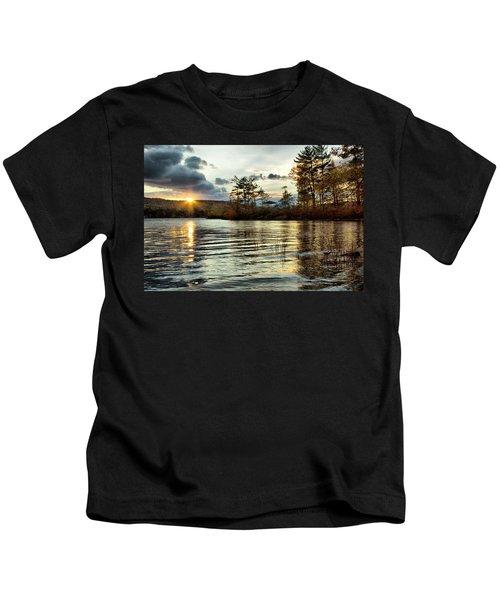 Sunset On Webster Lake  Kids T-Shirt