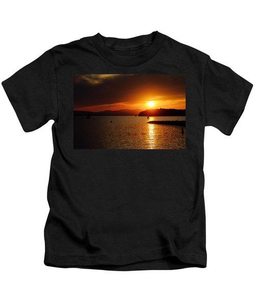 Sunset Over Lake Champlain Kids T-Shirt