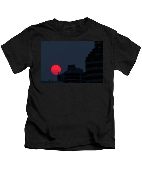 Sunset Over The City Of Portland Oregon Kids T-Shirt