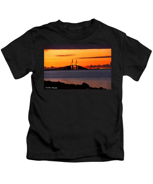 Sunset Over The Skyway Bridge Kids T-Shirt