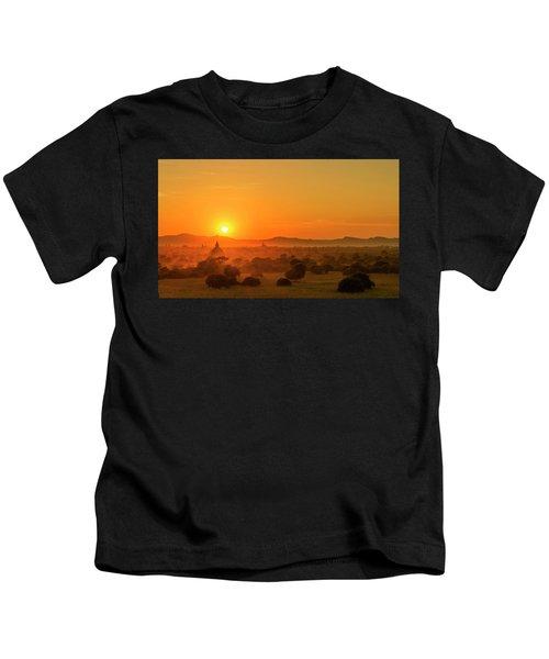 Sunset View Of Bagan Pagoda Kids T-Shirt