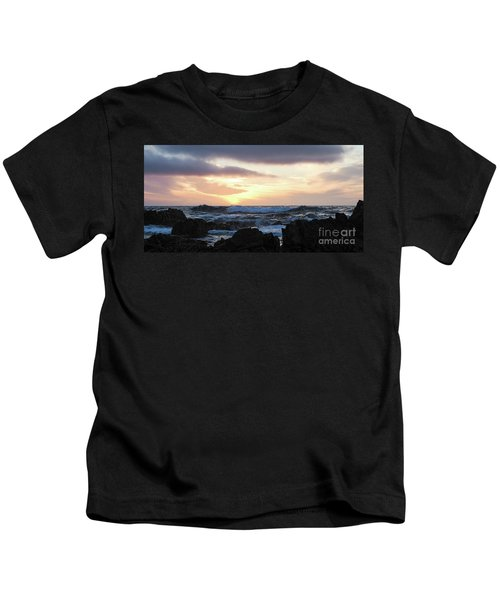 Sunset Waves, Asilomar Beach, Pacific Grove, California #30431 Kids T-Shirt