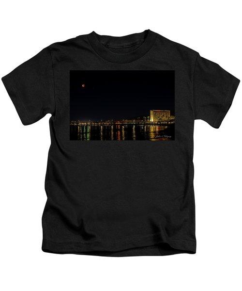 Super Blue Blood Moon Over Ventura, California Pier  Kids T-Shirt