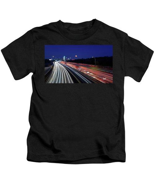 Super Moon And Dallas Texas Skyline Kids T-Shirt
