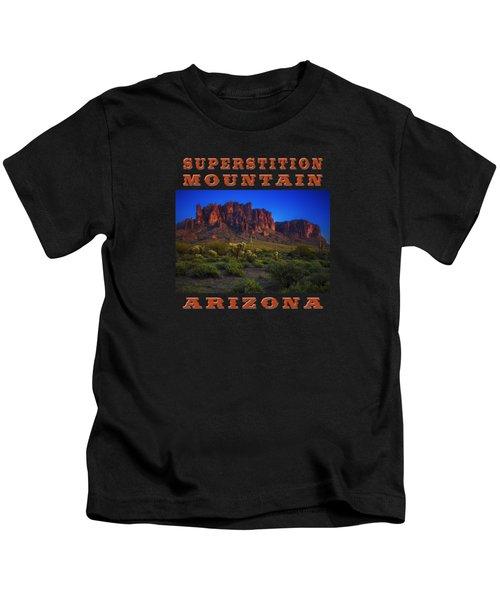 Superstition Mountain Sunset Kids T-Shirt