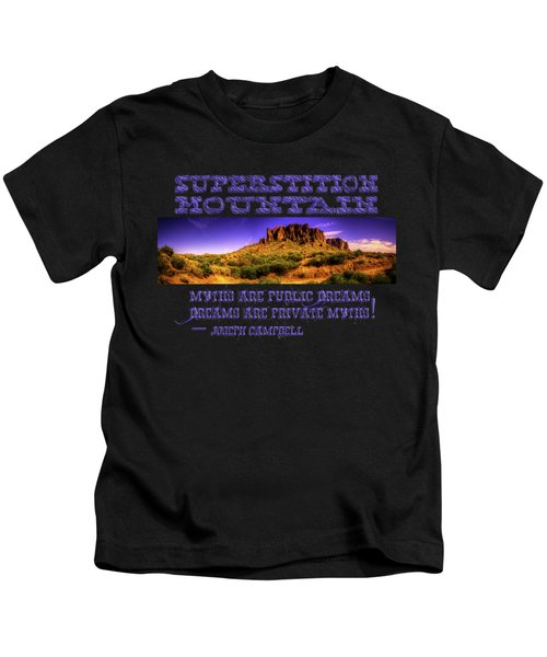 Superstition Mountains In Panorama Late Afternoon Kids T-Shirt