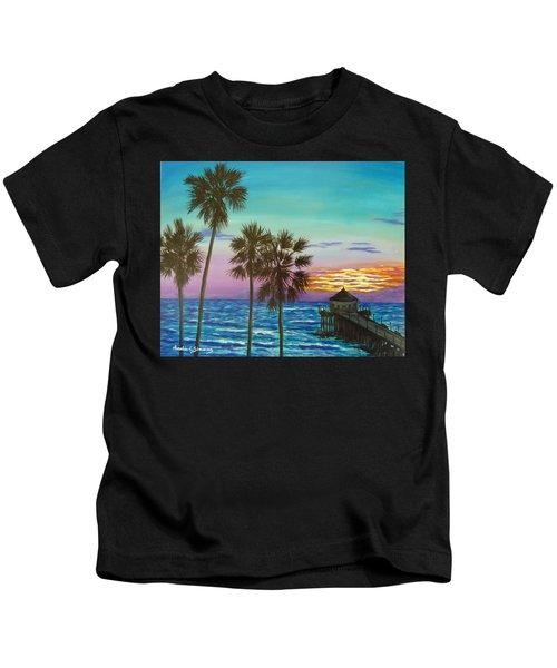 Surf City Sunset Kids T-Shirt