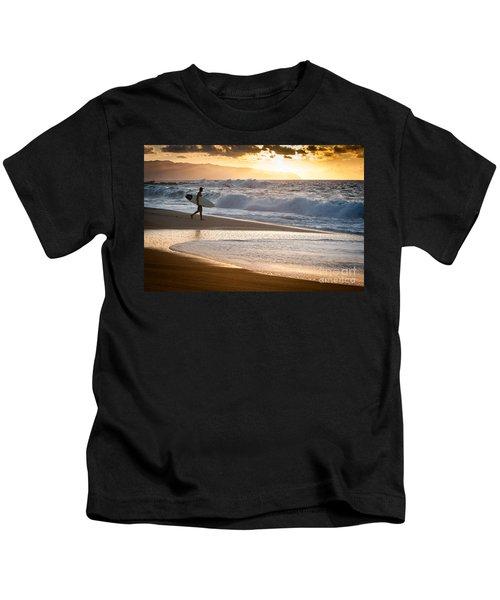 Surfer On Beach Kids T-Shirt