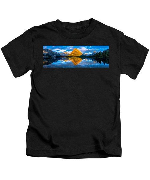 Swiftcurrent Lake Sunrise Panorama Kids T-Shirt