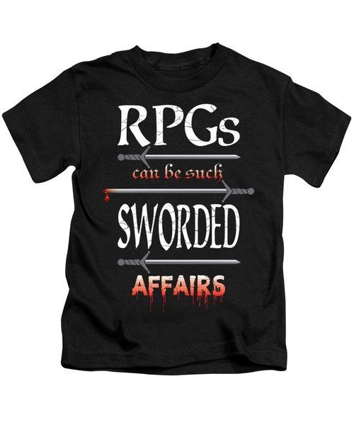 Sworded Affairs Kids T-Shirt by Jon Munson II