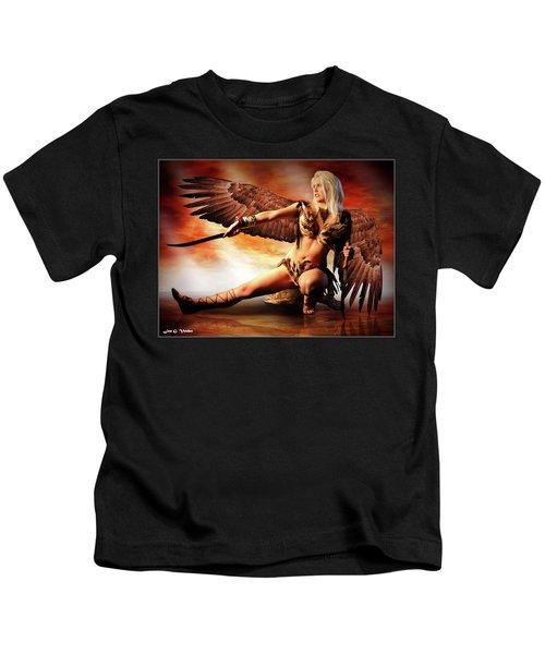 Swords Of The Hawk Woman Kids T-Shirt