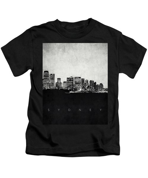Sydney City Skyline With Opera House Kids T-Shirt by World Art Prints And Designs