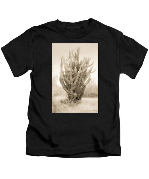 Tall Cactus In Sepia Kids T-Shirt