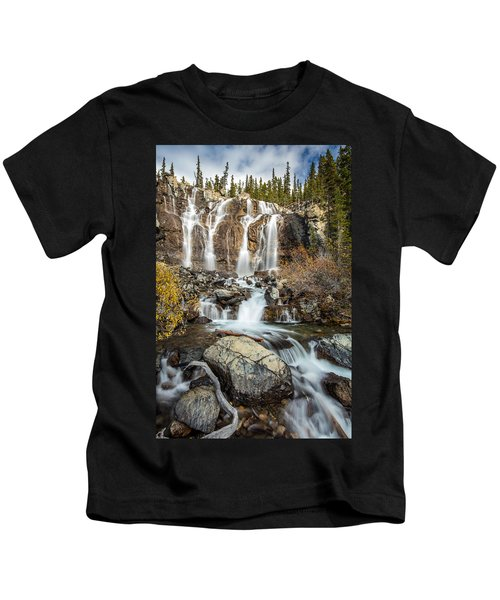 Tangle Waterfall On The Icefield Parkway Kids T-Shirt