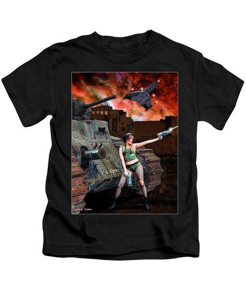 Tank Girl In Action Kids T-Shirt