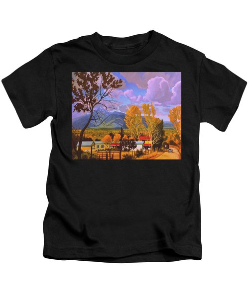 Taos Red Roofs Kids T-Shirt