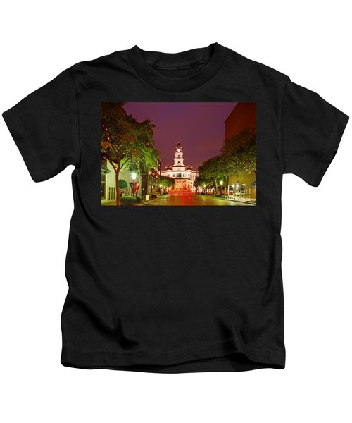 Tarrant County Courthouse At Twilight - Fort Worth North Texas Kids T-Shirt