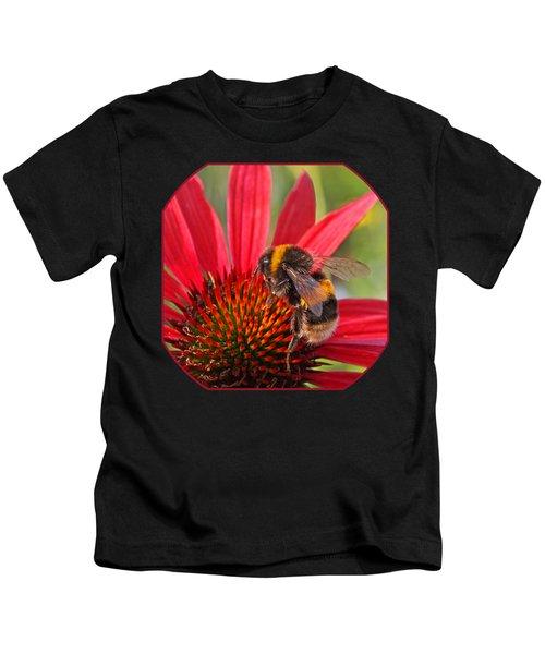 Taste Of Summer - Bee On Red Coneflower - Square Kids T-Shirt