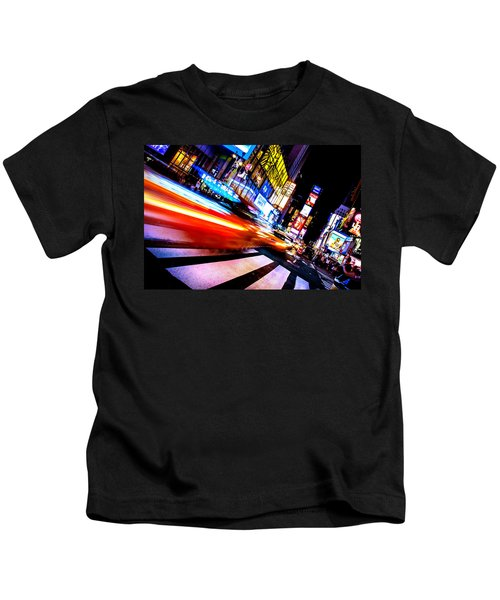 Taxis In Times Square Kids T-Shirt by Az Jackson