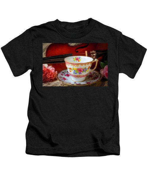 Tea Cup And Violin Kids T-Shirt