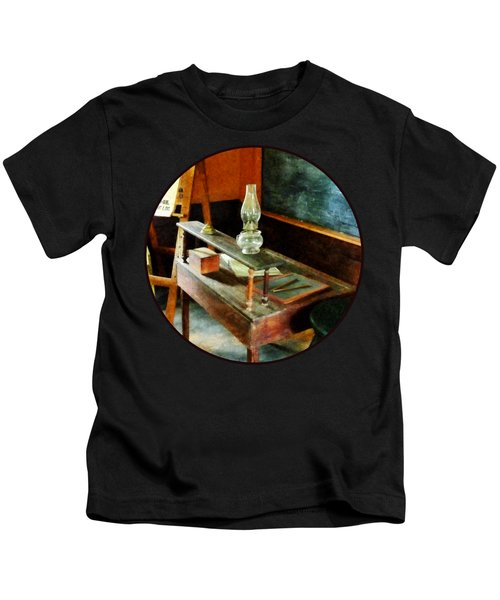 Teacher's Desk With Hurricane Lamp Kids T-Shirt