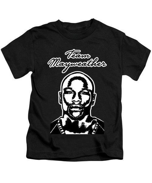 Team Mayweather Black And White Portrait Kids T-Shirt