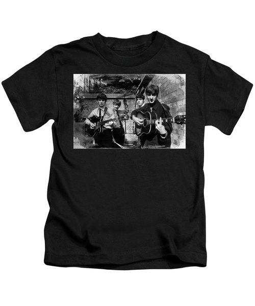 The Beatles In London 1963 Black And White Painting Kids T-Shirt