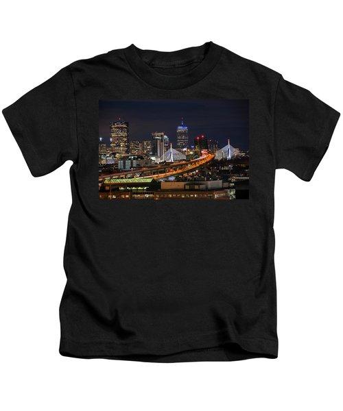 The Boston Skyline Boston Ma Full Zakim Kids T-Shirt