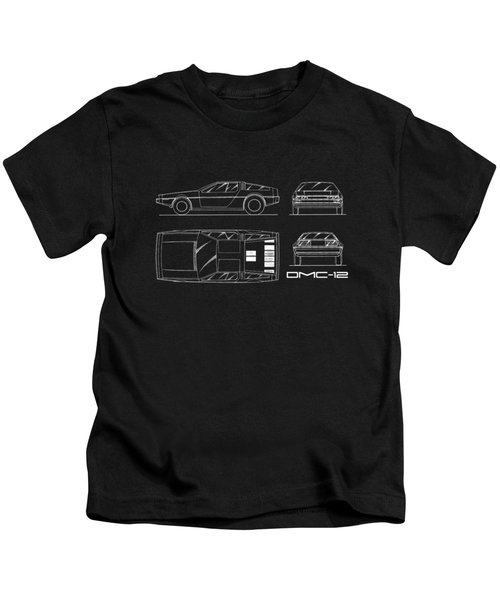 The Delorean Dmc-12 Blueprint Kids T-Shirt by Mark Rogan