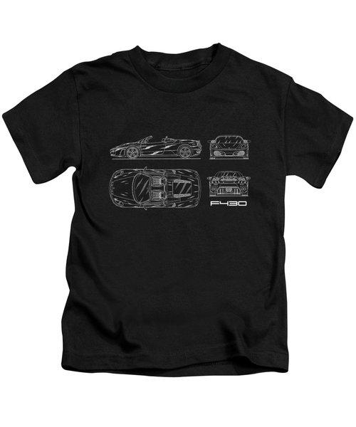 The F430 Blueprint Kids T-Shirt by Mark Rogan