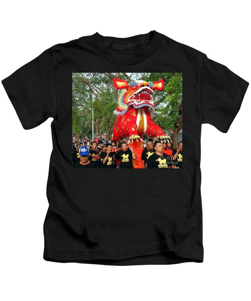 The Fire Lion Procession In Southern Taiwan Kids T-Shirt