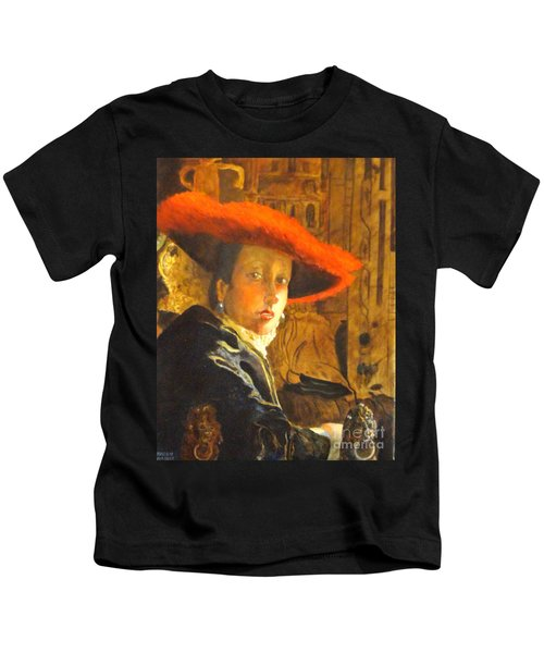 The Girl With The Red Hat After Jan Vermeer Kids T-Shirt