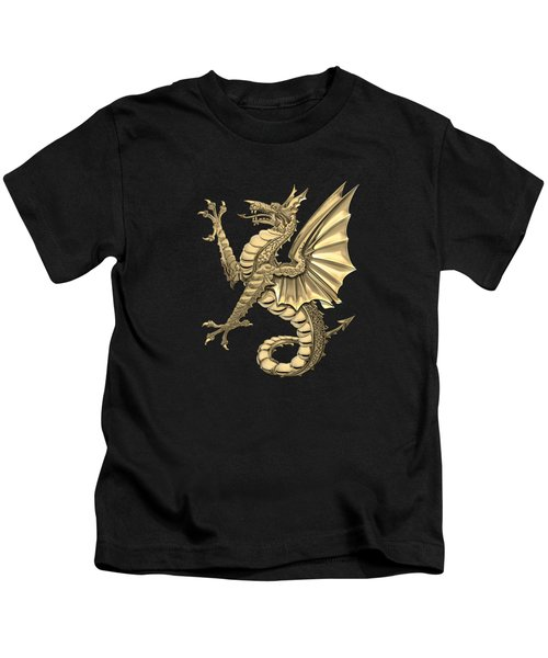 The Great Dragon Spirits - Gold Sea Dragon Over Black Canvas Kids T-Shirt