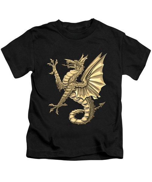 The Great Dragon Spirits - Gold Sea Dragon Over Black Canvas Kids T-Shirt
