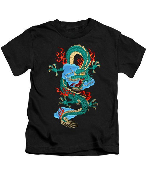 The Great Dragon Spirits - Turquoise Dragon On Black Silk Kids T-Shirt by Serge Averbukh