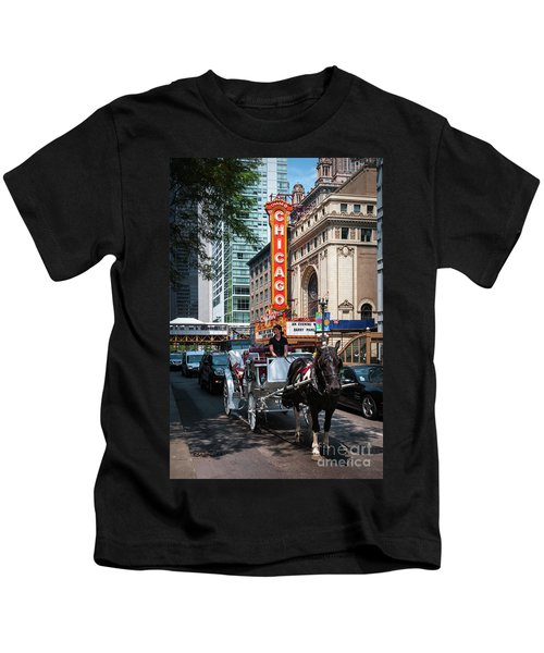 The Iconic Chicago Theater Sign And Traffic On State Street Kids T-Shirt