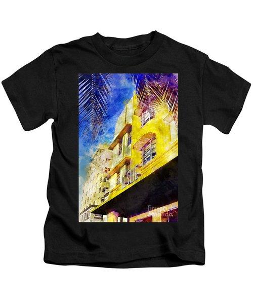 The Leslie Hotel South Beach Kids T-Shirt by Jon Neidert