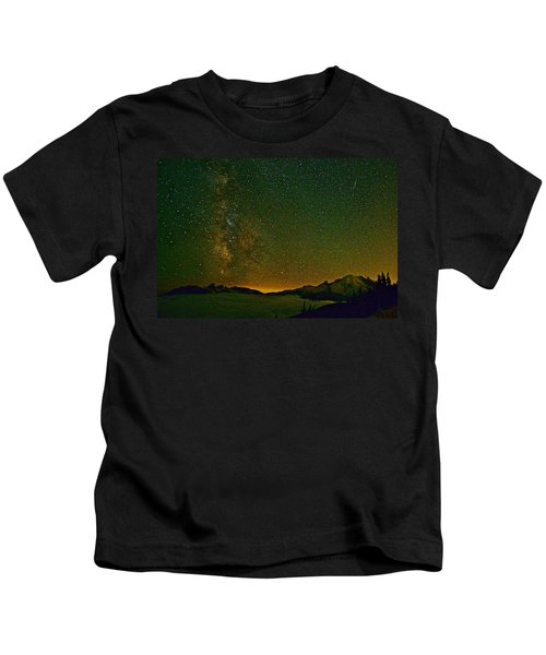The Milky Way And Mt. Rainier Kids T-Shirt