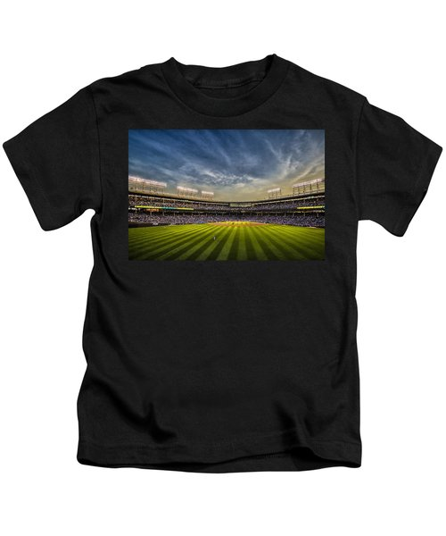 The New Wrigley Field With Pretty Sunset Sky Kids T-Shirt
