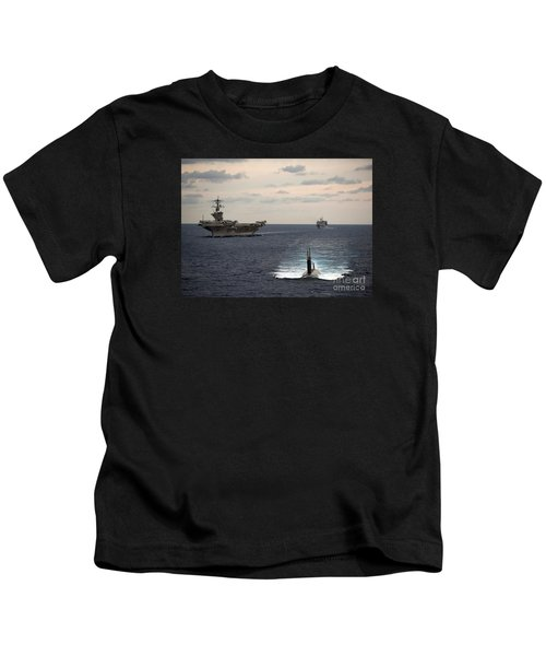 The Nimitz-class Aircraft Carrier Uss Carl Vinson And A Submarine Kids T-Shirt