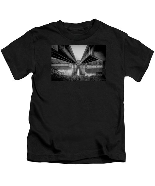 The Underside Of Two Bridges Symmetry In Black And White Kids T-Shirt