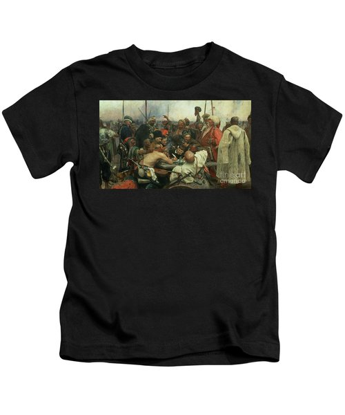 The Zaporozhye Cossacks Writing A Letter To The Turkish Sultan Kids T-Shirt